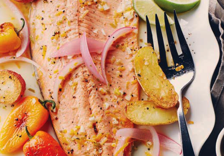 Ontario Rainbow Trout poached in citrus with roasted potatoes