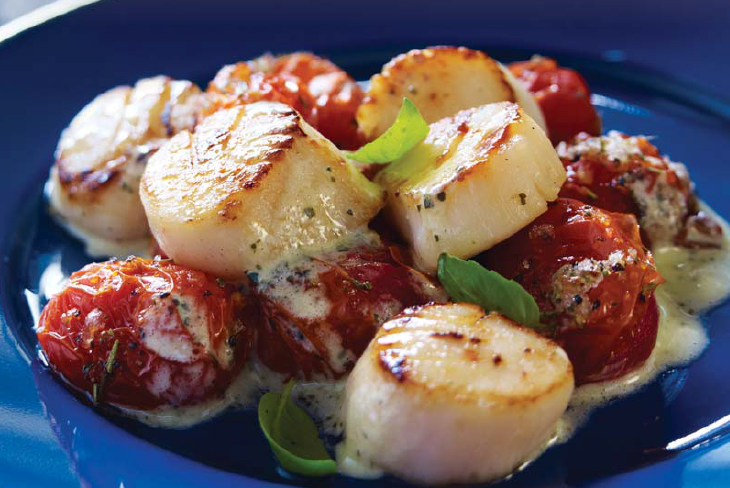 Sweet Roasted Grape Tomatoes with Pesto Scallops