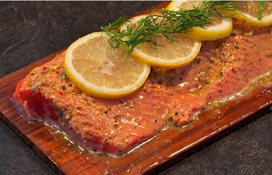 Cedar Planked BBQ Salmon (click for recipe)