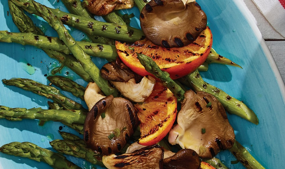 Grilled Asparagus and Oyster Mushrooms with Orange Vinaigrette