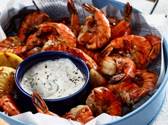 Peppercorn grilled shirmp with creamy horseradish dip (click for recipe)