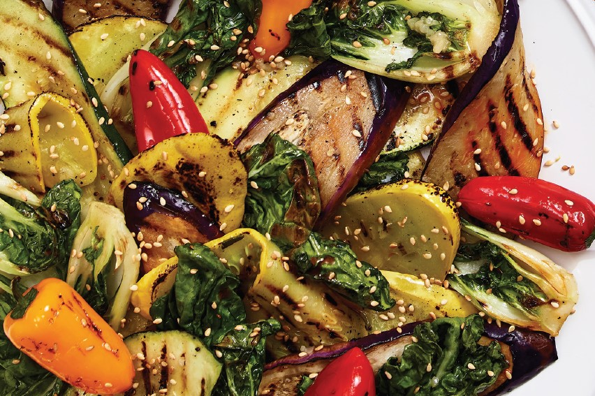 Grilled Bok Choy, Pepper Medley, Eggplant and Zucchini with Sesame dressing
