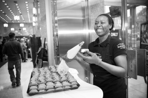Our team member Keisha hand-pipes cannoli at the opening of Longo's Imperial Plaza.