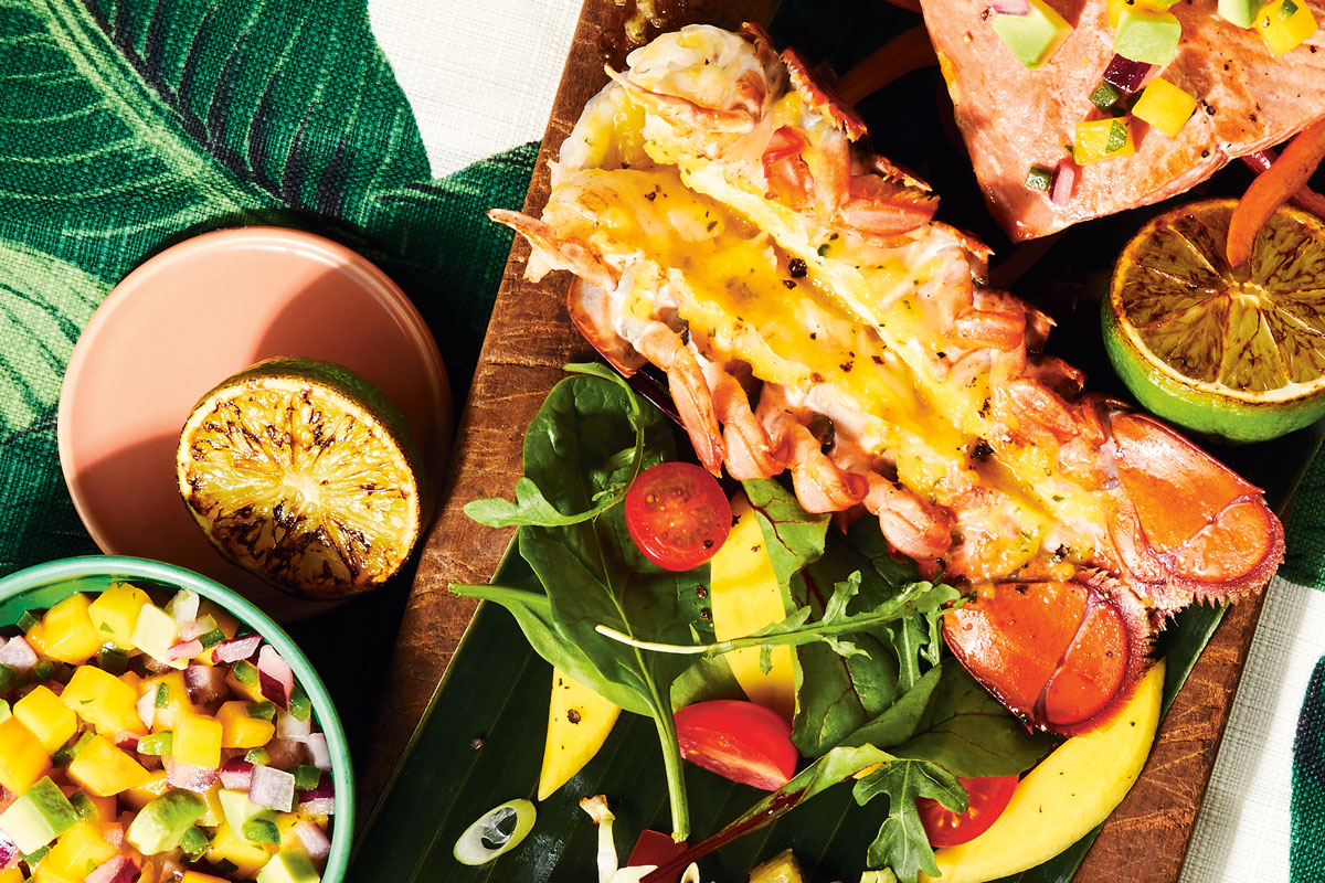 Grilled Lobster Tails with Mango Pepper Sauce