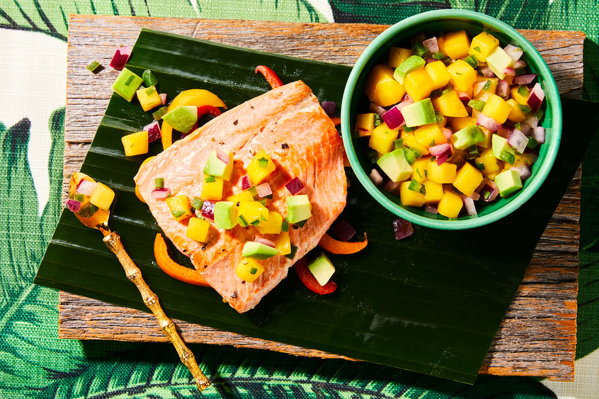 Grilled Salmon Packets with Mango Avocado Salsa