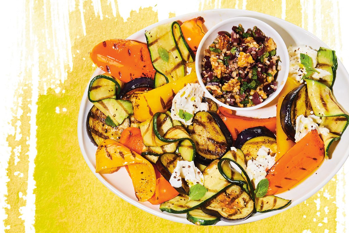 Grilled Vegetables with Burrata and Olive-Walnut Relish