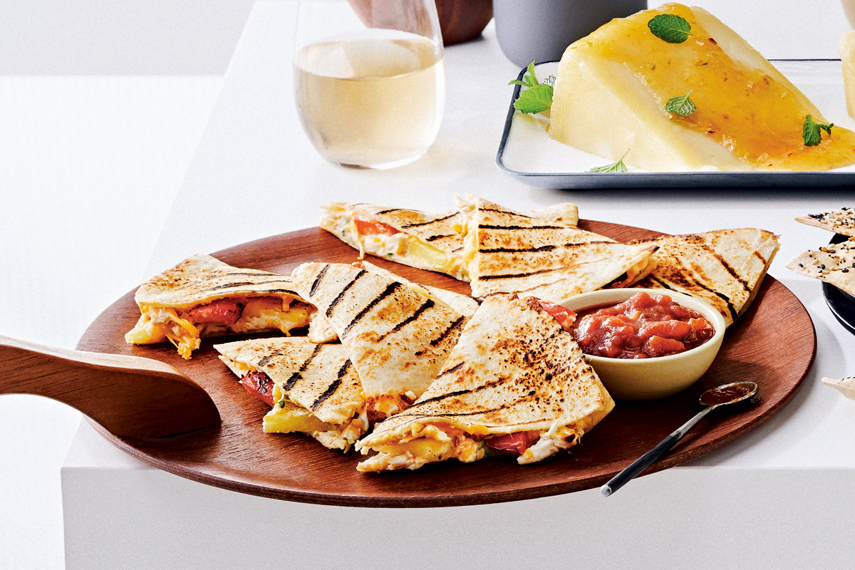 Grilled Pineapple Pepper Chicken Quesadillas