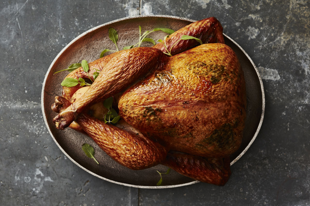 Smoked Turkey with Herbed Butter